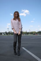 beige Forever 21 shirt - gray H&M pants - black Forever 21 boots - purple Foreve