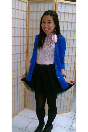 H&M blouse - Ann Taylor Loft tights - Gap skirt - Gap cardigan