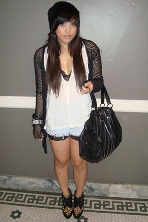 black beanie H&M hat - black Jeffrey Campbell shoes - black flea market jacket