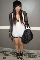 black beanie H&M hat - black Jeffrey Campbell shoes - black flea market jacket