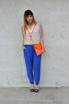 DIY bag - DIY necklace - H&M blouse - Urban Outfitters pants - Prada heels