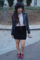 H&M jacket - diy vintage blouse - f21 skirt - asos shoes