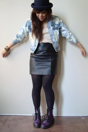 diy vintage denim jacket - peach h&m shirt - Vintage leather skirt - Target tigh
