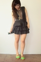 aa mesh insert bodysuit - escada skirt - vintage cross necklace - Ray Ban sungla