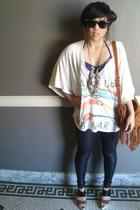 trash and luxury t-shirt - Members Only leggings - UO purse - Marni shoes