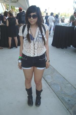 crochet shirt - vintage swimwear - diy studded levi shorts - asos buckled boots