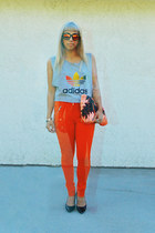 adidas shirt - sara beltran bag - westward leaning sunglasses - H&M pants