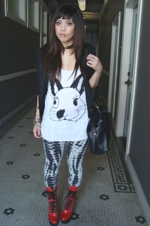 vintage blazer - F21 bunny shirt - Target leggings - Chloe boots - H&M purse