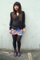 vintage sheer blouse - vintage floral skirt - American Apparel tights - doc mart