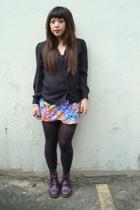 vintage sheer blouse - vintage floral skirt - American Apparel tights - doc mart