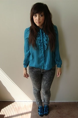 vintage blouse - Cheap Monday jeans - f21 socks - Bestey Johnson shoes