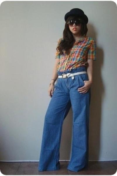 vintage hat - vintage shirt - vintage jeans - asos glasses - vintage belt
