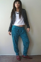 H&M leather jacket - UO cropped shirt - vintage pants - asos lace up shoes