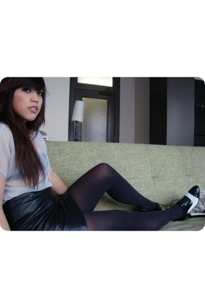 sheer diy top - American Apparel intimate - leather skirt - Target tights - thri
