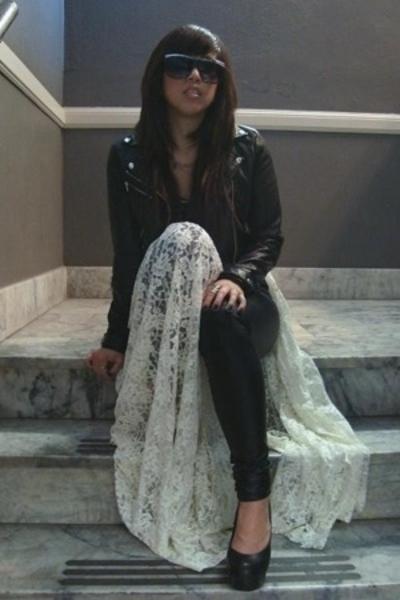 H&M jacket - H&M shirt - Members Only leggings - vintage from Ebay skirt - Jeffe