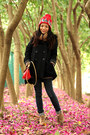 Red-thrifted-vintage-hat-red-cherrykoko-bag-black-ehyphen-world-gallery-coat