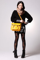 black House of Holland tights - mustard Cambridge Satchel Company bag - black To