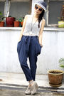 Blue-hat-beige-unknown-shoes-white-mphosis-vest-blue-unknown-pants-pink-