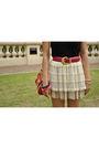 Red-cherry-koko-purse-beige-unknown-skirt-black-forever-new-top-pink-vinta