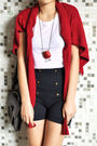 Red-bershka-cardigan-blue-zara-shorts-white-h-m-t-shirt-brown-clarks-shoes