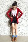 Red-bershka-cardigan-blue-zara-shorts-white-h-m-t-shirt-brown-clarks-shoes