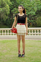 red Cherrykoko bag - green EQIQ shoes - black lace top Forever New vest