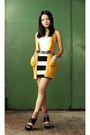 Yellow-bershka-cardigan-white-h-m-skirt-black-carolinna-espinosa-shoes