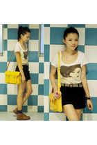 yellow Cambridge Satchel Company bag - brown Clarks shoes - black Zara shorts
