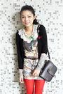 Black-grey-antics-cardigan-brown-urban-outfitters-purse-white-zara-skirt-w