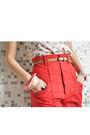 Red-zara-shorts-white-bershka-vest-white-sinequanone-hat-brown-vintage-bel