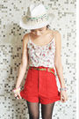 Red-zara-shorts-white-bershka-vest-white-sinequanone-hat-brown-vintage-bel