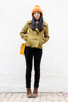 brown jipijapa shoes - olive green Sparkle & Fade coat - black BDG jeans - ivory