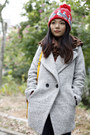 Heather-gray-boutique-coat-navy-uniqlo-jeans-red-vintage-hat-dark-brown-bo
