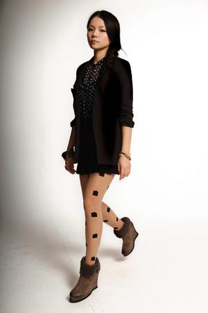 black Silence & Noise blazer - black H&M blouse - black unknown brand shorts - b