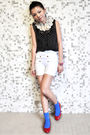 Red-maud-frizon-shoes-white-zara-shorts-black-h-m-blouse-red-swatch-access