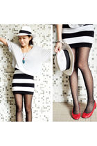 white Sinequanone hat - red maud frizon shoes - black H&M skirt - gray H&M top
