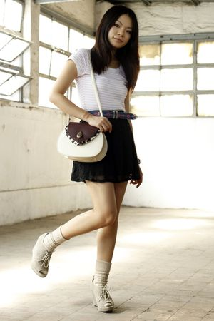 white H&M t-shirt - black asos skirt - beige unknown shoes - beige Topshop socks