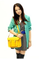 turquoise blue H&M blazer - yellow cambridge sachel company bag - black unknown
