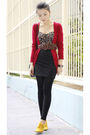 Red-bershka-cardigan-black-kimchi-blue-top-black-cotton-on-skirt-brown-at-