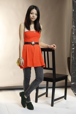 yellow vivienne westwood bag - green unknown shoes - orange lowrys farm dress