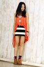 Orange-asos-vest-black-h-m-skirt-brown-clarks-shoes
