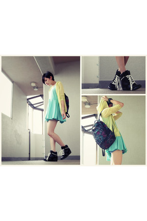 aquamarine dress - yellow mesh hoodie - black sneakers