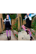 black iron fist boots - light blue Forever21 jacket - black Sheinside sweater