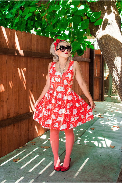 red imyourpresent dress - salmon DKNY stockings