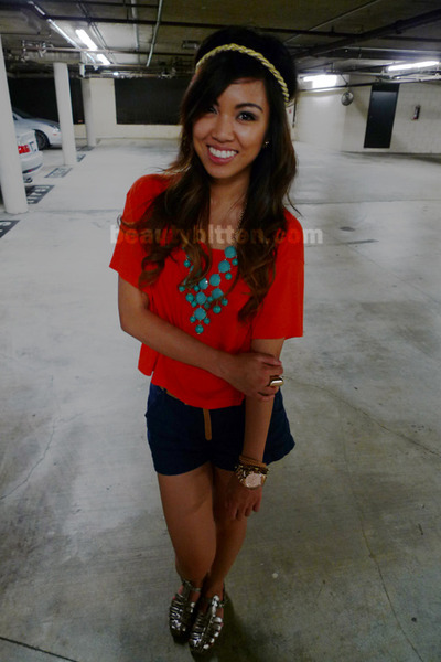 gold headband Forever21 accessories - orange cropped jersey H&M shirt