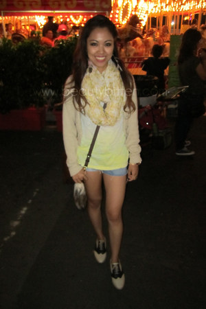 light yellow H&M scarf - tan oxfords Forever 21 shoes
