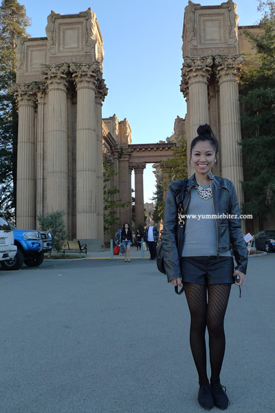 black oxfords Forever 21 shoes - black Forever 21 jacket - heather gray ruffled