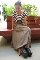 maxi Forever 21 skirt - Jeffrey Campbell boots - stripe H&M top