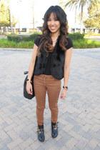 black fur olsenboye vest - black buckled ankle Dolce Vita for Target boots