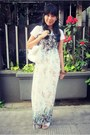 Teal-floral-maxi-korean-brand-dress-white-studded-oasap-bag